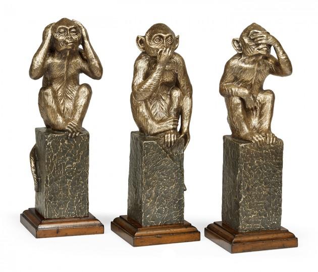 Three Antique Light Brown Brass Wise Monkeys