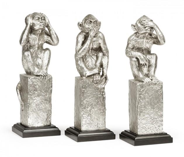 Three White Stainless Steel Wise Monkeys