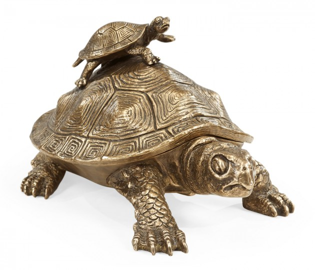 Anitque Light Brown Brass Turtle Container