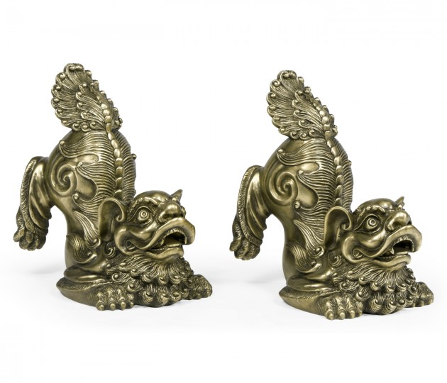 Antique Brass Foo Dog Bookends