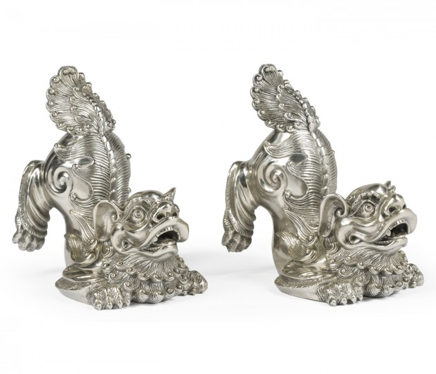 White Stainless Steel Foo Dog Bookends