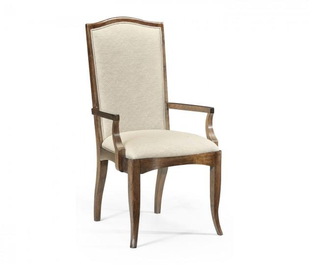 Berkley Walnut Dining Arm Chair, Upholstered in Skipper