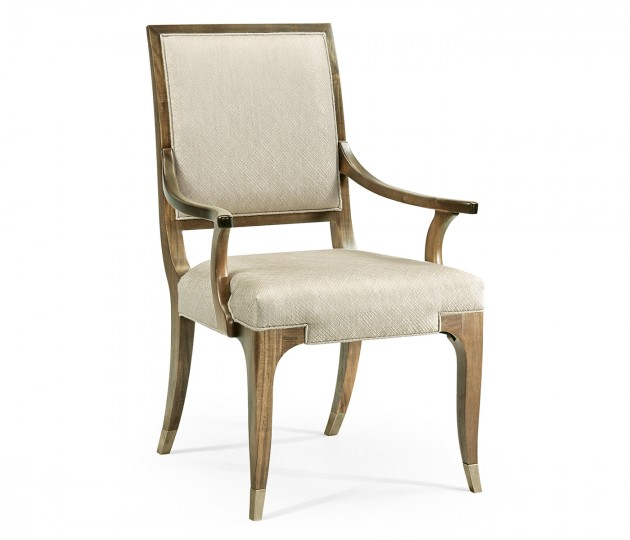 Hamilton Golden Amber Dining Arm Chair, Upholstered in Skipper