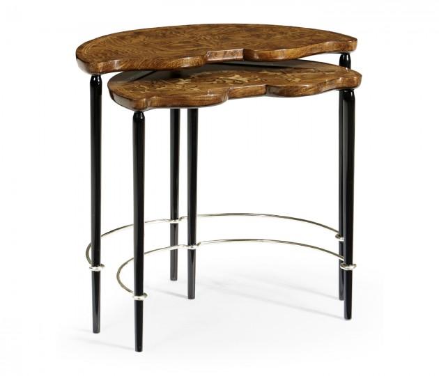 Madison Spring Petal Amber Ash Burl & White Stainless Steel Nesting Tables