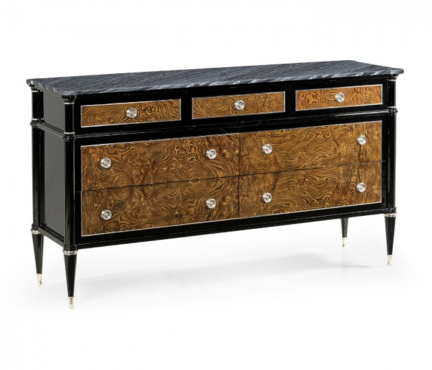 Madison Piano Black & Amber Ash Burl Dresser with Grey Wave Marble Top