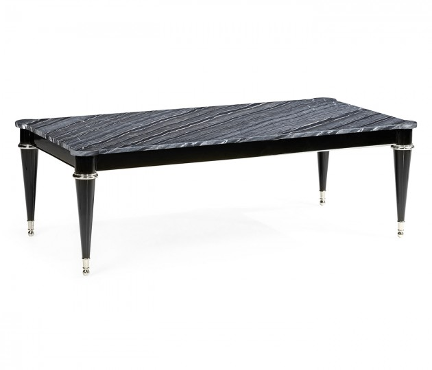 Madison Piano Black Cocktail Table with Black Silver Marble Top