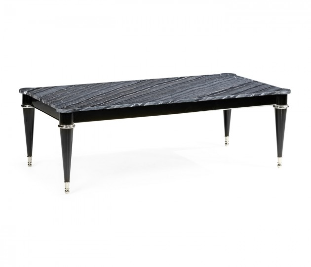 Madison Piano Black Cocktail Table with Grey Wave Marble Top