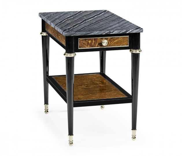 Madison Rectangular Piano Black & Amber Ash Burl End Table with Grey Wave Marble Top