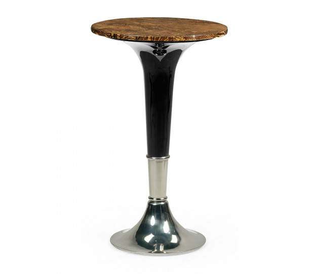 Madison Amber Ash Burl & Piano Black Accent Table