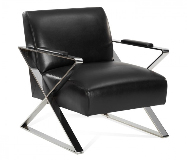 Madison Accent Chair, Upholstered in Mont Blanc Midnight Leather