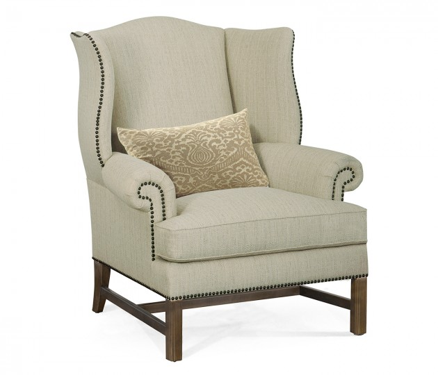 Buckingham Wing Back Bleached Mahogany Sofa Chair, Upholstered in Sand Dollar