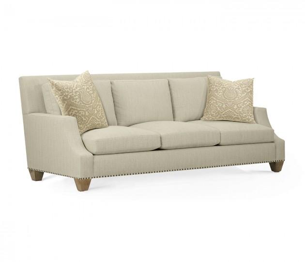 Buckingham Sloped Bleached Walnut Sofa, Upholstered in Sand Dollar