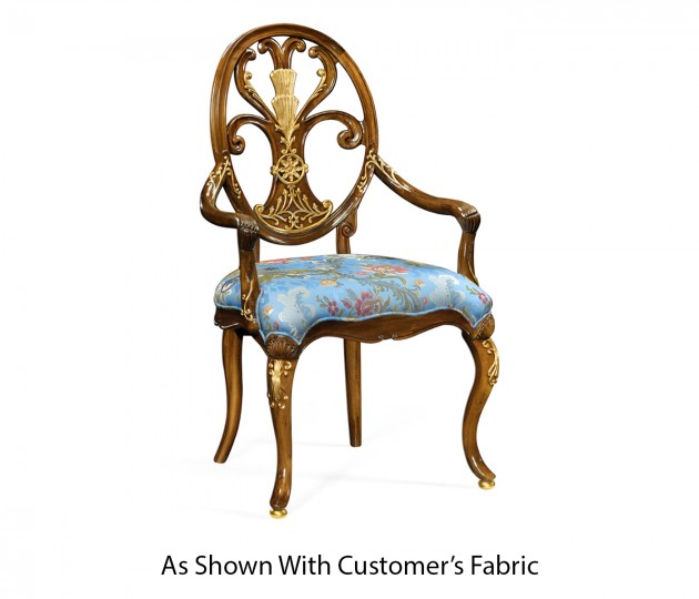 Carving oval back armchair fabric seat (COM)