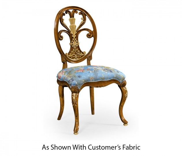 Carving oval back side chair fabric seat