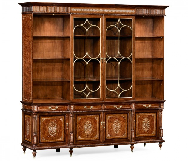 Large Burl & Mother of Pearl Glazed Bookcase