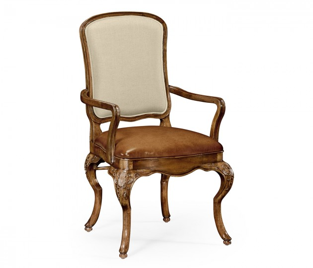 Walnut armchair with DV medium antique chestnut leather seat and fabric back
