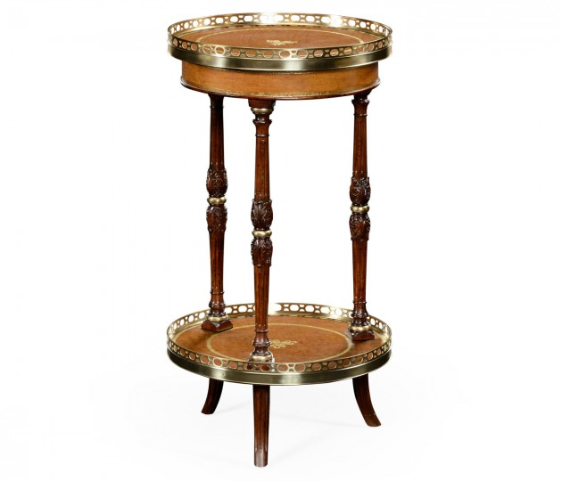Mahogany and leather inlaid round lamp table