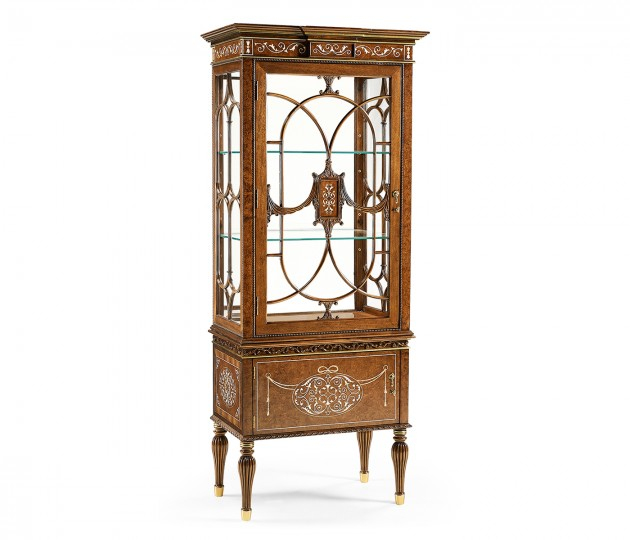 Left Opening Burl & Mother of Pearl Display Cabinet
