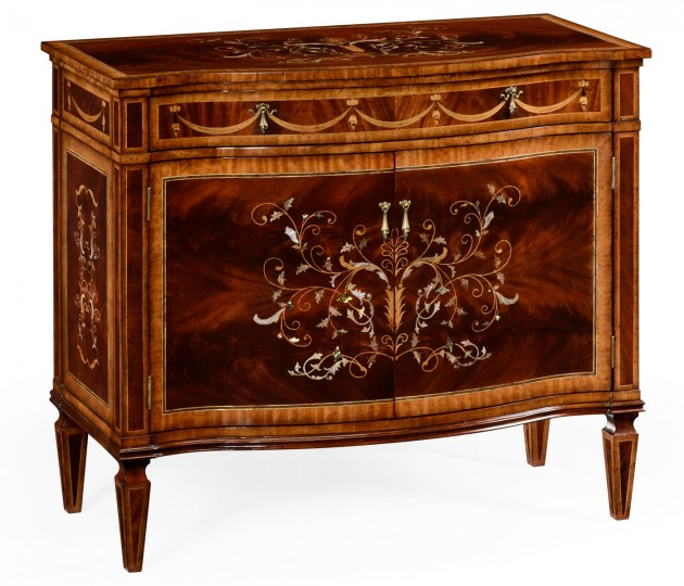 Small Mahogany & Mother of Pearl Side Cabinet