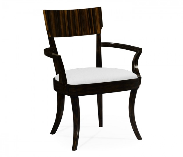 Art Deco Macassar Ebony High Lustre Dining Armchair, Upholstered in COM