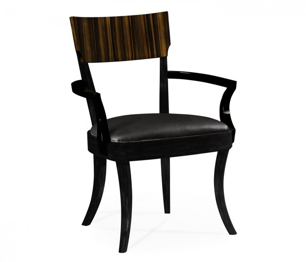 Art Deco Macassar Ebony High Lustre Dining Arm Chair, Upholstered in Dark Chocolate Leather