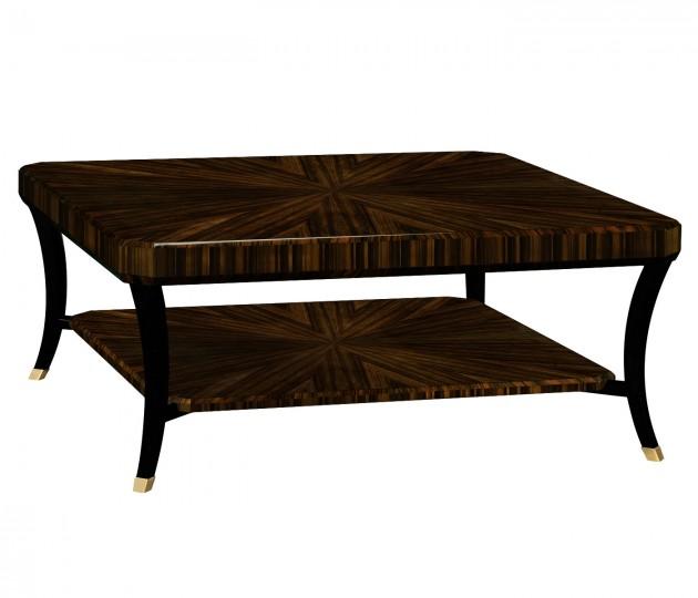Square Art Deco Macassar Ebony High Lustre Coffee Table