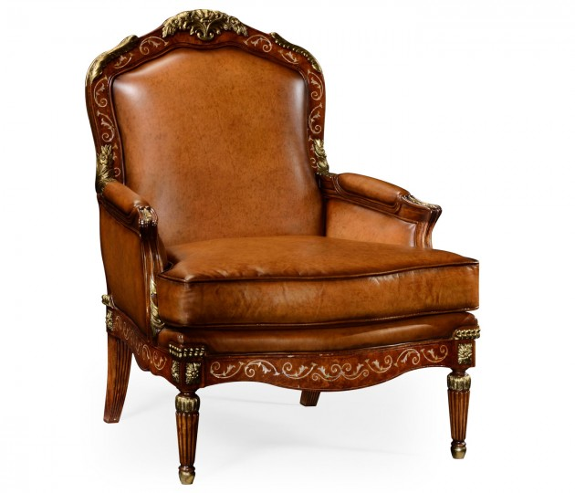 Burl and mother of pearl inlaid arm chair