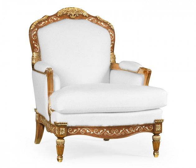 Burl and mother of pearl inlaid arm chair in COM
