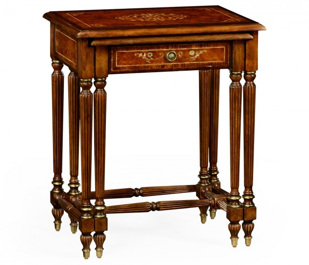 Burl and Mother of Pearl Inlaid Nest of Two Tables with Carved Legs