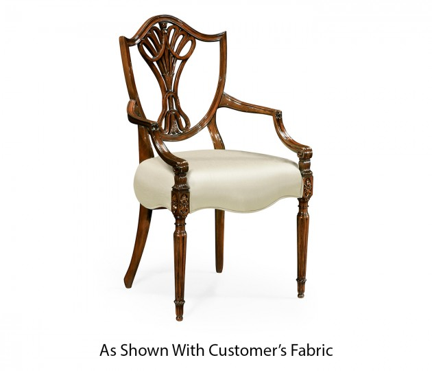 Sheraton Dining Arm Chair with Shield Back in Mahogany High Gloss, Upholstered in COM