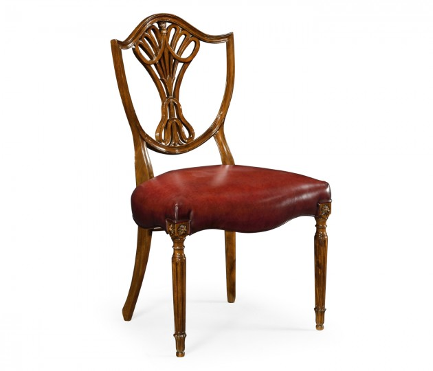 Sheraton Dining Side Chair with Shield Back in Mahogany High Gloss, Upholstered in Red Leather