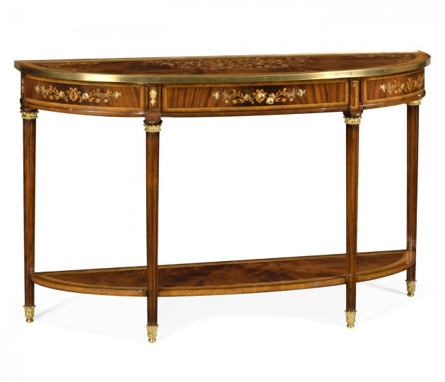 Large Demilune Console Table with Low Shelf