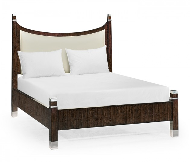 Black Eucalyptus US King Bed, Upholstered in Cream Leather