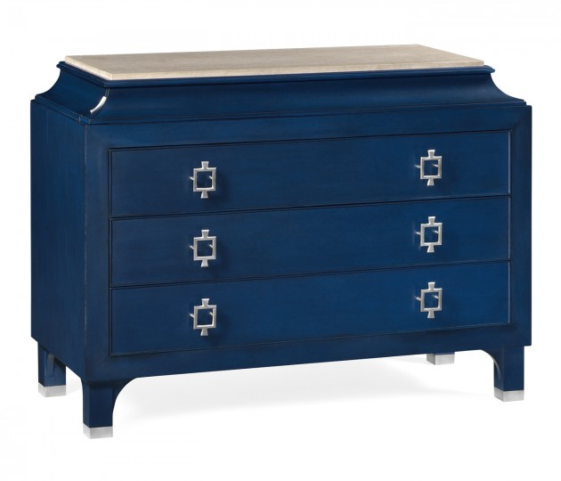 Antique Blue Oak Chest of Drawers