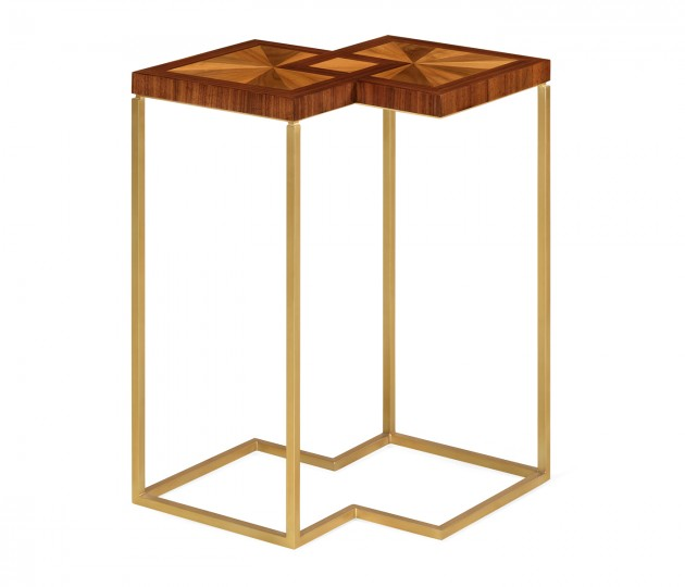 Double Diamond Bookmatched Walnut Side Table