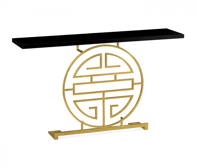 Gilded Oriental Medallion Smoky Black Console Table
