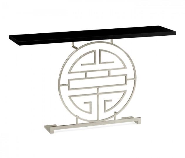 Silver Oriental Medallion Smoky Black Console Table