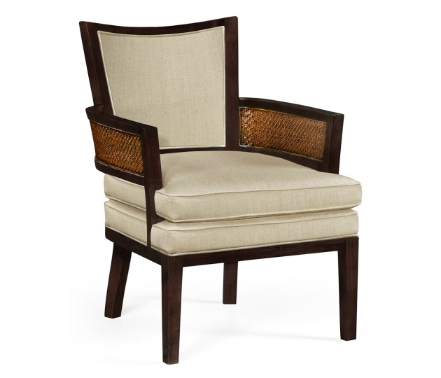 Sonokelling & Rattan Occasional Chair, Upholstered in MAZO