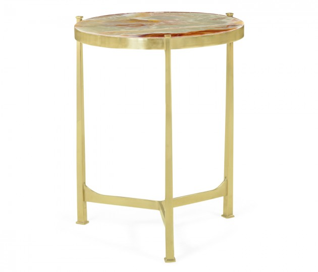 Medium Solid Brass & Green Onyx Top Round Lamp Table