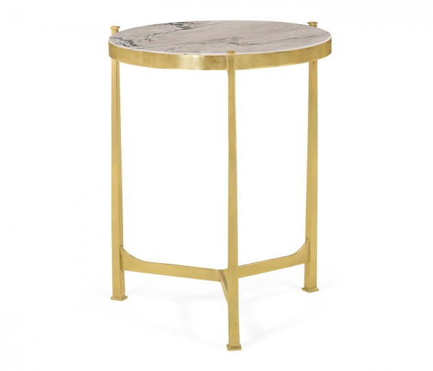 Medium Solid Brass & Blanco Equador Marble Top Round Lamp Table