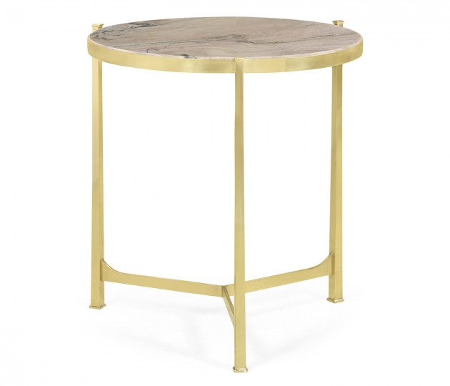 Large Solid Brass & Blanco Equador Marble Top Round Lamp Table