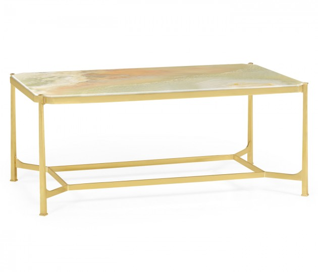 Rectangular Solid Brass & Green Onyx Top Coffee Table