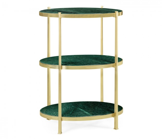 Large Solid Brass & Green Napoly Marble Three–Tier End Table