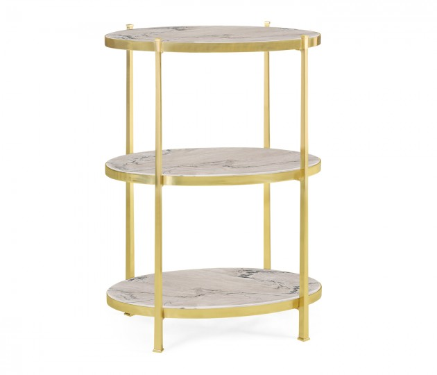 Large Solid Brass & Blanco Equador Marble Three-Tier End Table