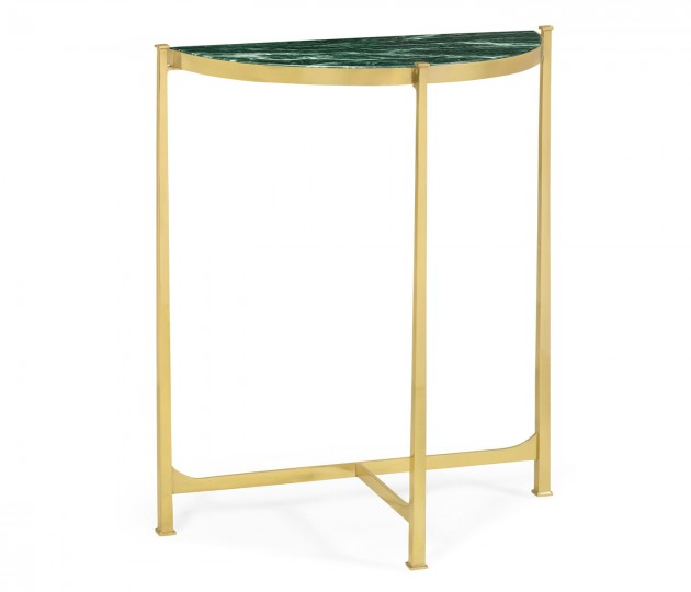 Small Solid Brass & Green Napoly Marble Top Demilune Console Table