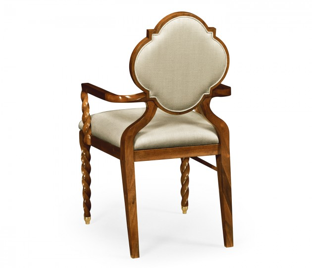 Walnut Barleytwist Dining Arm Chair, Upholstered in MAZO