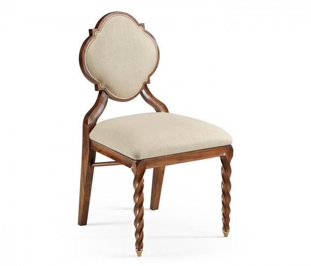 Walnut Barleytwist Dining Side Chair, Upholstered in MAZO