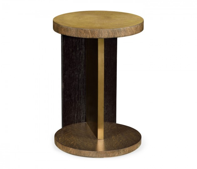 Round Oak with Large Oyster Side Table
