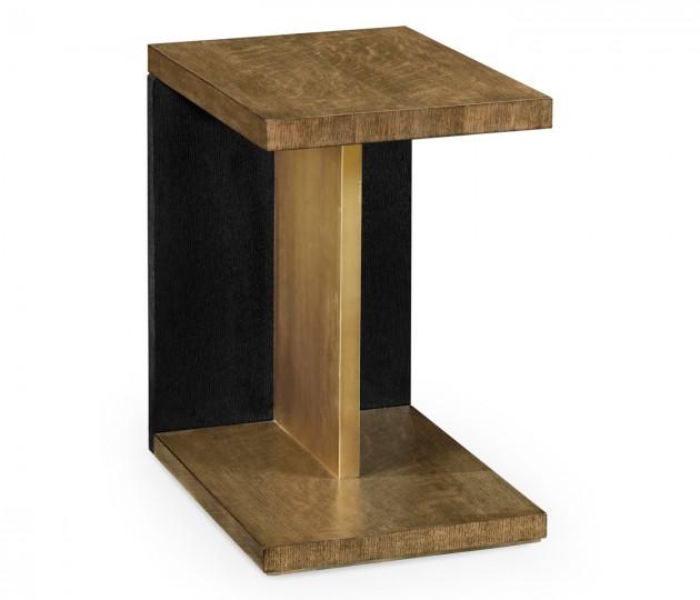 Rectangular Cut-Out Oak End Table