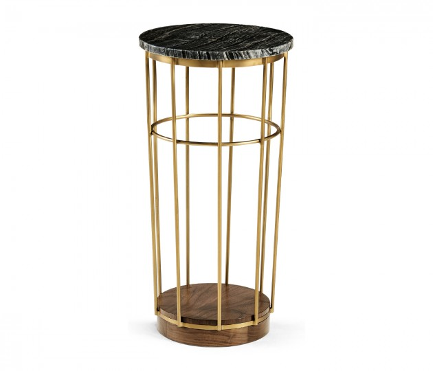 Brass & Marble Round Side Table